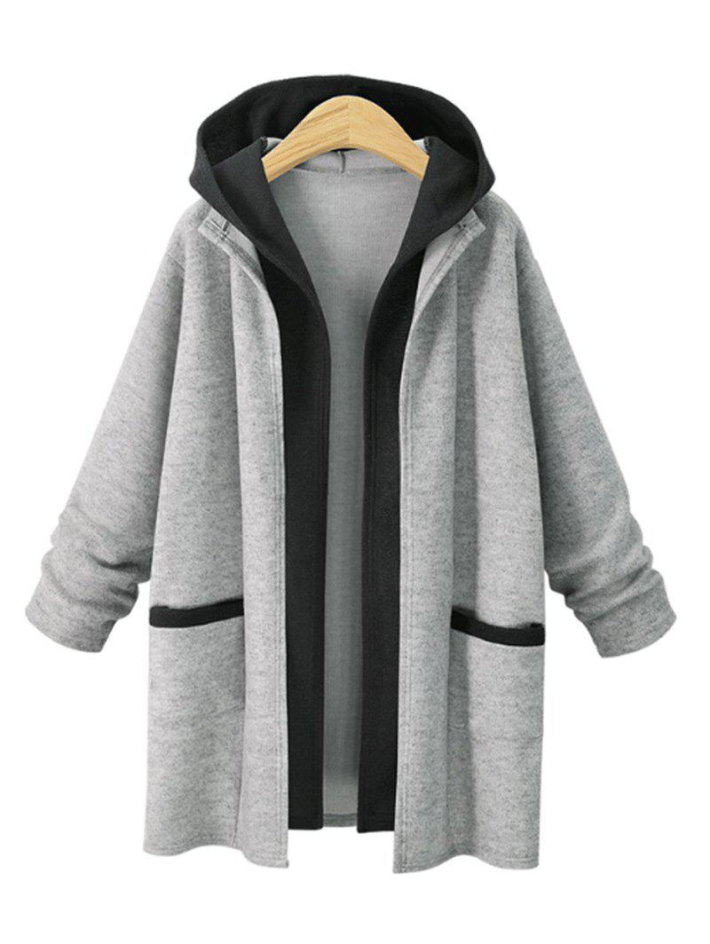 Best Faux Two Piece Plus Size Hooded Coat