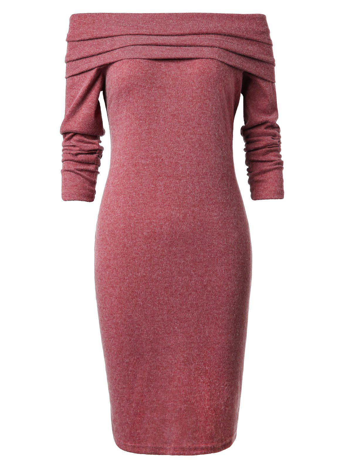 Fashion Off The Shoulder Solid Bodycon Dress
