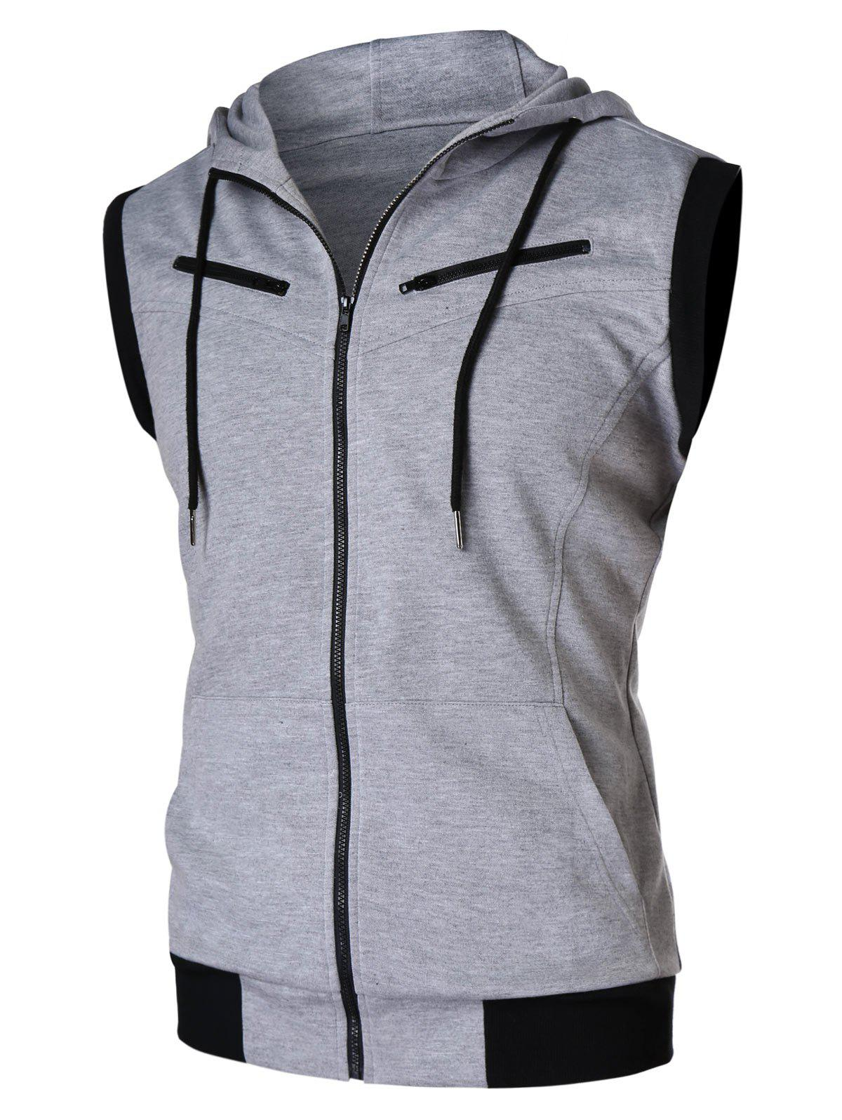 Shops Zipper Sleeveless Hooded Tank Top