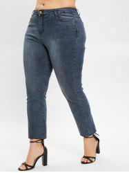 Plus Size Plain Jeans with Zipper Fly -