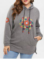 Plus Size Pullover Embroidered Slit Fleece Hoodie -