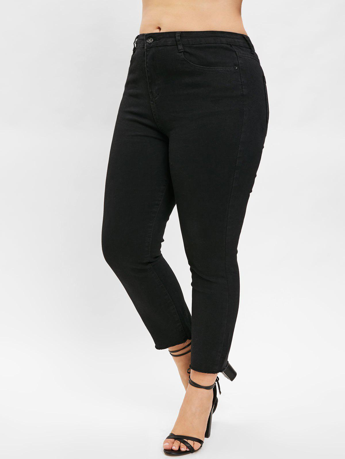Affordable Plus Size Plain Jeans with Zipper Fly