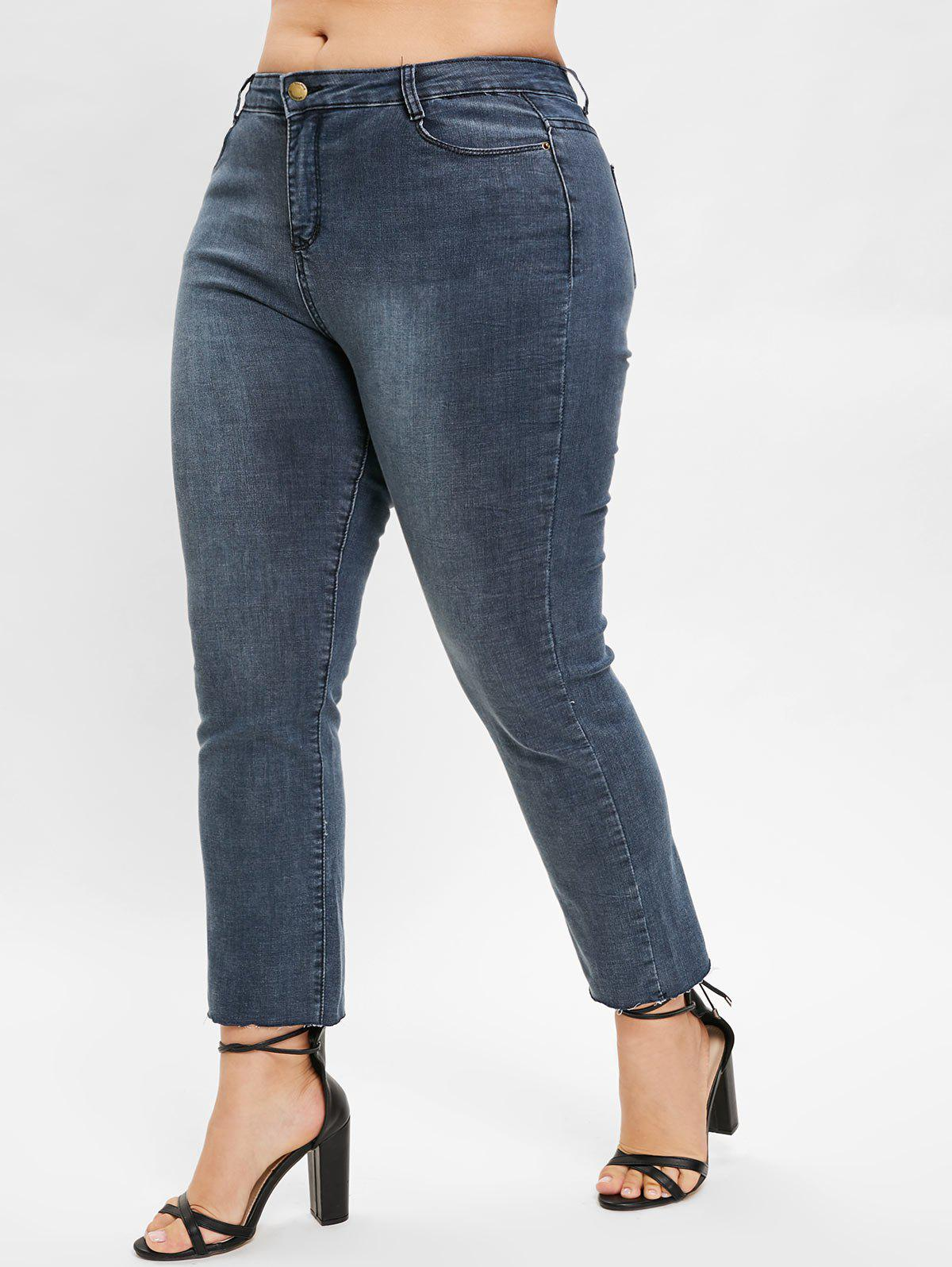 Store Plus Size Plain Jeans with Zipper Fly