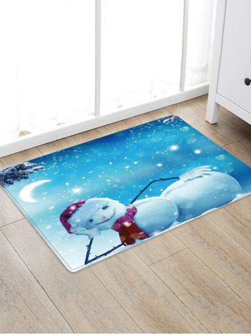 Christmas Night Snowman Pattern Water Absorption Floor Rug