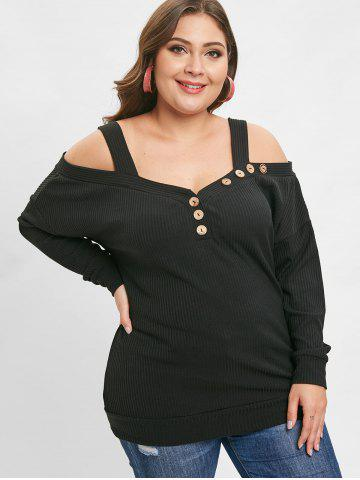 Ribbed Cold Shoulder Plus Size Tee