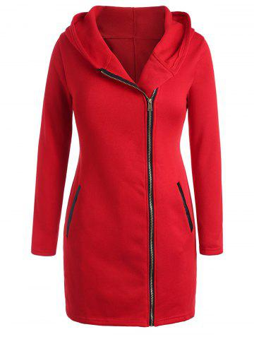 Plus Size Inclined Zipper Hooded Coat with PU