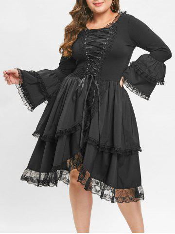 Plus Size Criss Cross Bell Sleeve Layered Hem Vintage Dress - BLACK - L