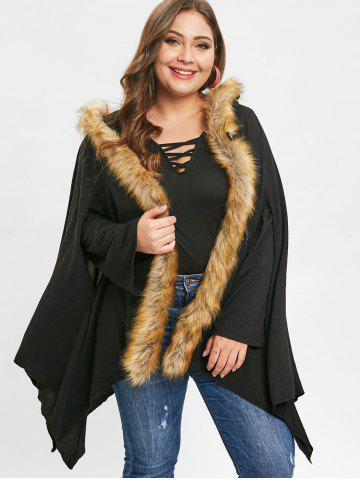 9d28ac35953bf Plus Size Asymmetrical Faux Fur Coat
