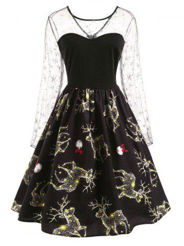 Christmas Deer Pattern Mesh Panel Dress