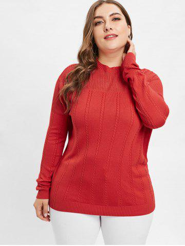 Plus Size Mock Neck Openwork Cable Knit Sweater