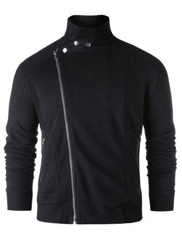 Asymmetric Zipper Stand Collar Jacket