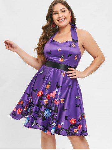 Plus Size Halter Open Back Floral Vintage Dress