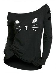 Cat Face Print Ripped Long Sleeve T-shirt -
