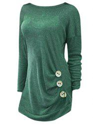 Plus Size Side Button Detail Long Sleeve T-shirt -