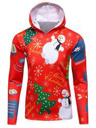 3D Christmas Tree and Snowman Print Flocking Hoodie -