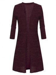 Plus Size Collarless Open Front Coat -
