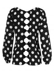 Plus Size Bowknot Cut Out Dotted Blouse -
