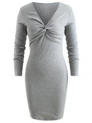 Front Knot Knitted Bodycon Dress -