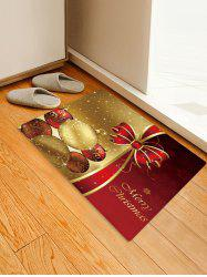 Christmas Balls Bowknot Pattern Water Absorption Area Rug -