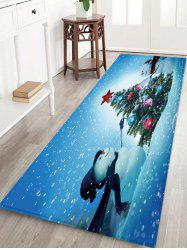 Christmas Snowmen Tree Pattern Water Absorption Floor Rug -