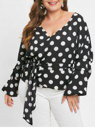Polka Dot Belted Plus Size T-shirt -