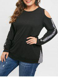 Plus Size Open Shoulder Plaid T-shirt -