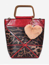 Leopard  Fluffy Heart Decoration Tote Bag -