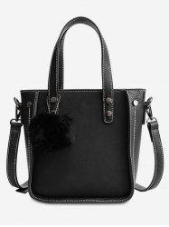 Fluffy Ball and Rivet Decoration Tote Bag -