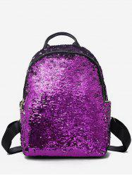 Paillette Solid Color Design Student Backpack -