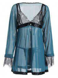 Plus Size Lace Panel Contrast Babydoll with Cape -