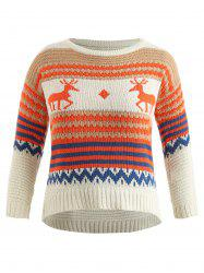 Drop Shoulder Plus Size Christmas Elk Print Sweater -