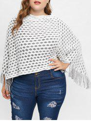 Plus Size Contrast Sweater Cape with Fringed -