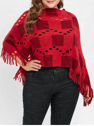 Plus Size Fringed Sweater Cape with Hollow Out -