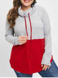 Plus Size Cowl Neck Color Block T-shirt -