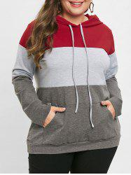 Color Block Plus Size Pullover Hoodie -