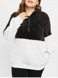 Plus Size Pullover Fluffy Hoodie with Half Zipper -