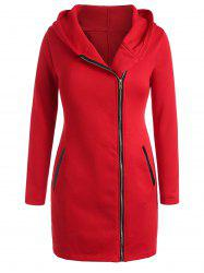 Plus Size Inclined Zipper Hooded Coat with PU -