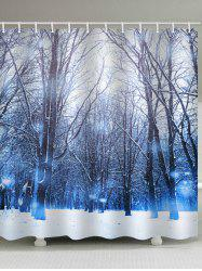 Christmas Snow Forest Pattern Waterproof Shower Curtain -
