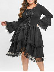 Plus Size Criss Cross Bell Sleeve Layered Hem Vintage Dress -
