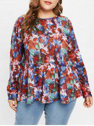 Plus Size Half Buttons Floral Peplum Tee -