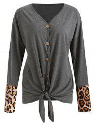 Leopard Panel Knot Front Cardigan -