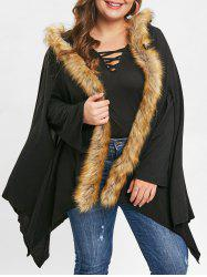 Plus Size Asymmetrical Faux Fur Coat -
