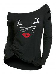 Off The Shoulder Christmas Graphic T-shirt -