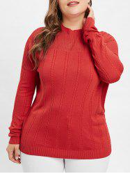 Plus Size Mock Neck Openwork Cable Knit Sweater -