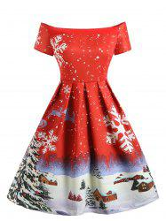 Christmas Snowflake Print Off The Shoulder Dress -