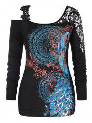 Plus Size Ethnic Print Open Shoulder T-shirt -