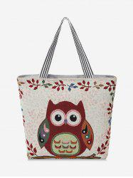 Owl Pattern Canvas Tote Bag -