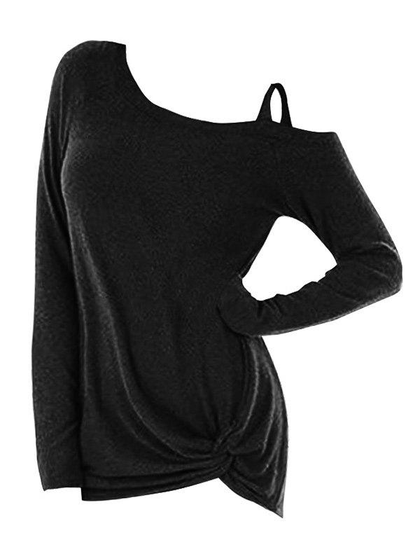 Cheap Twist Detail Plus Size Long Sleeve T-shirt