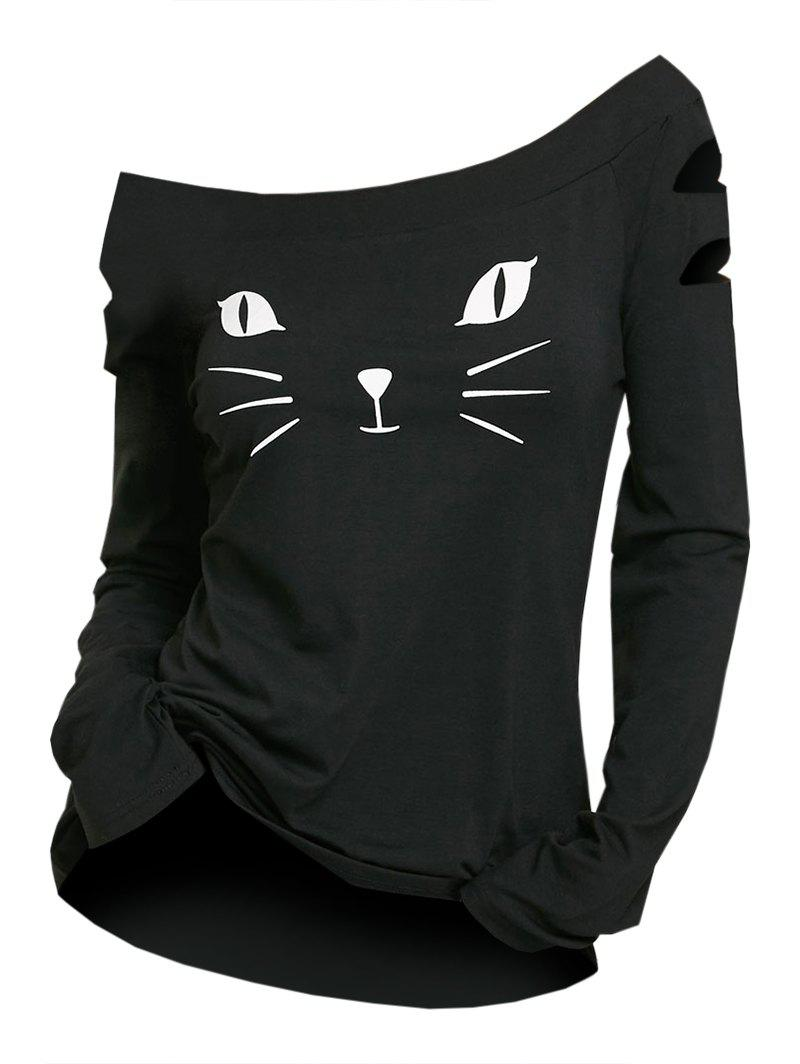 New Cat Face Print Ripped Long Sleeve T-shirt