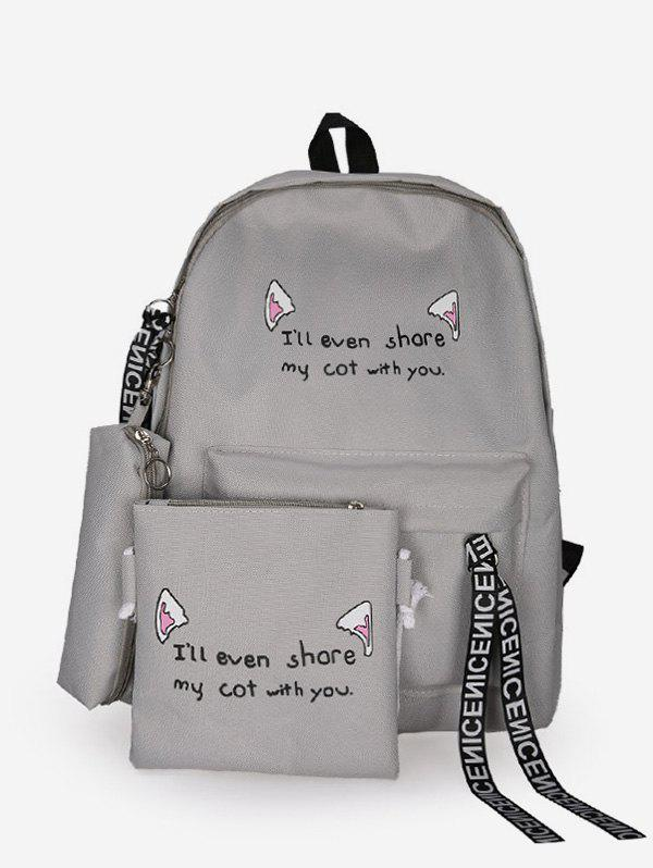 Affordable 3Pcs Letter Zipper and Cat Ears Pattern School Backpack